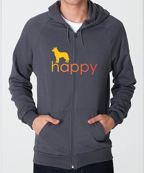 Righteous Hound - Unisex Happy Husky Zip Front Hoodie