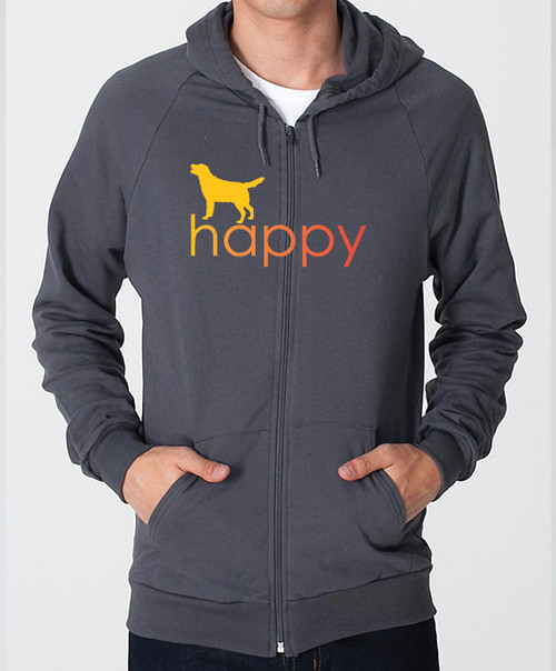 Righteous Hound - Unisex Happy Lab Zip Front Hoodie