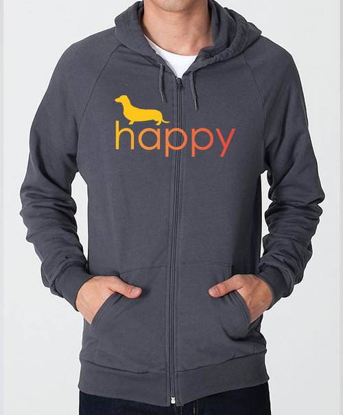 Righteous Hound - Unisex Happy Dachshund Zip Front Hoodie