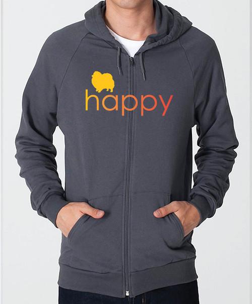 Righteous Hound - Unisex Happy Pomeranian Zip Front Hoodie