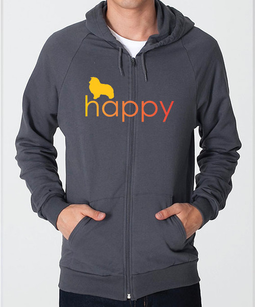 Righteous Hound - Unisex Happy Shetland Sheepdog Zip Front Hoodie