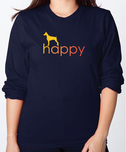 Righteous Hound - Unisex Happy Doberman Long Sleeve T-Shirt