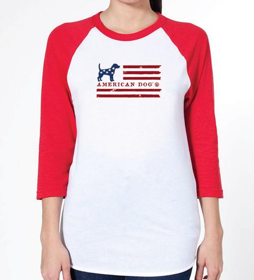 Unisex Flag Beagle Raglan T-Shirt