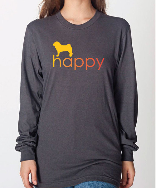 Unisex Happy Pug Long Sleeve T-Shirt