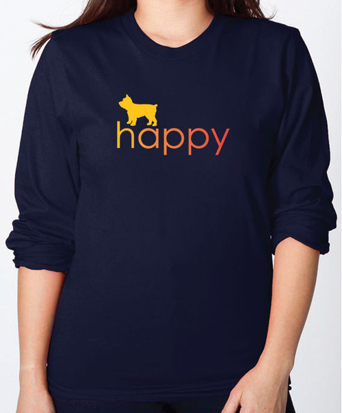 Righteous Hound - Unisex Happy Yorkie Long Sleeve T-Shirt