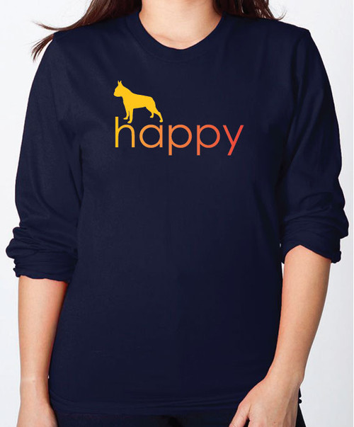 Righteous Hound - Unisex Happy Boston Terrier Long Sleeve T-Shirt