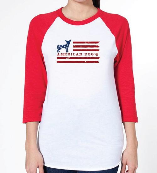 Unisex Flag Chihuahua Raglan T-Shirt