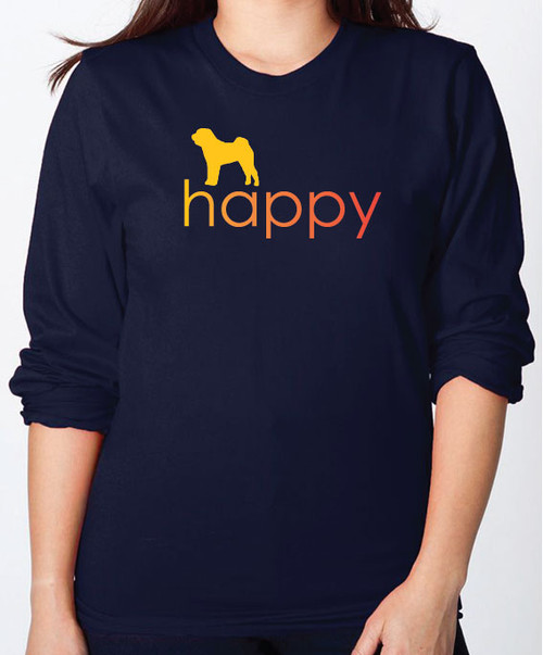 Righteous Hound - Unisex Happy Shar-Pei Long Sleeve T-Shirt