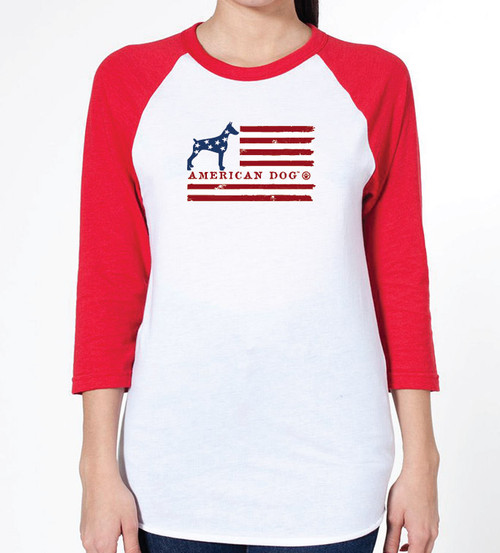 Unisex Flag Doberman Raglan T-Shirt