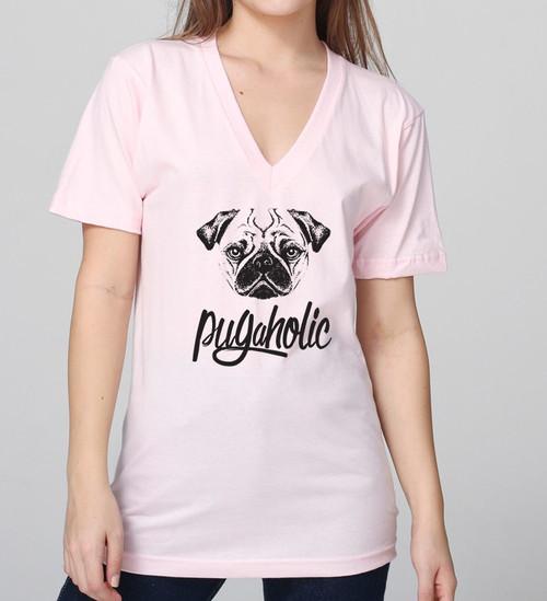 Pugaholic Unisex V-Neck T-Shirt