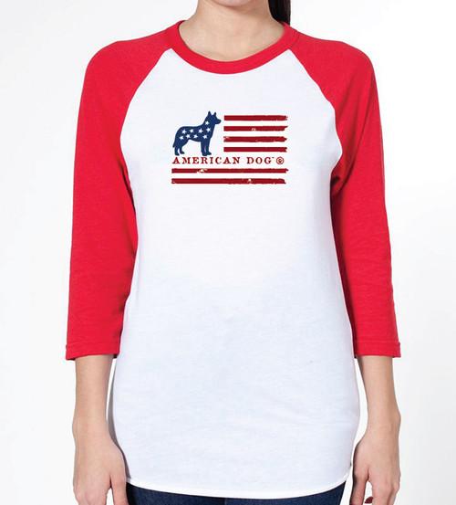 Unisex Flag Husky Raglan T-Shirt
