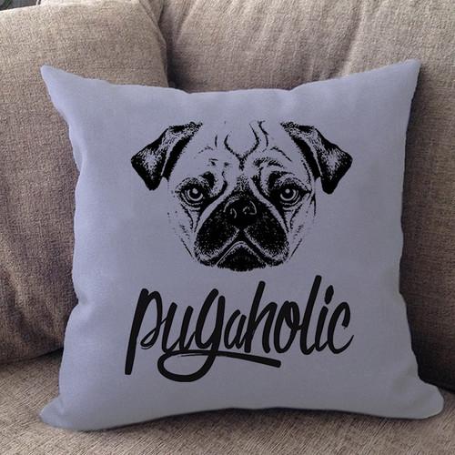 Pugaholic Pug Pillow