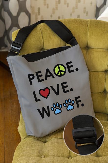 Peace.Love.Woof. Adjustable Tote