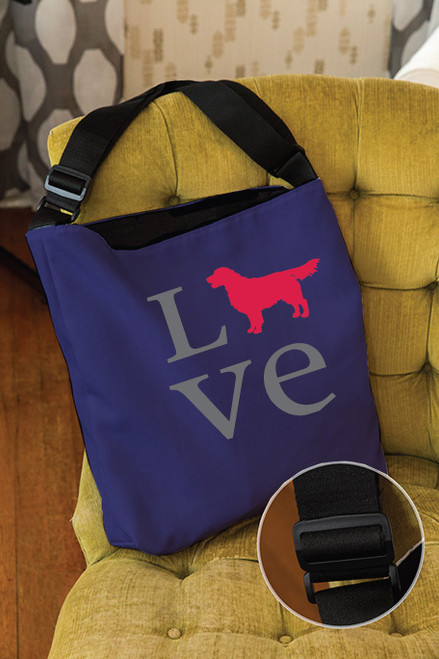 Righteous Hound - Love Golden Retriever Adjustable Tote Bag