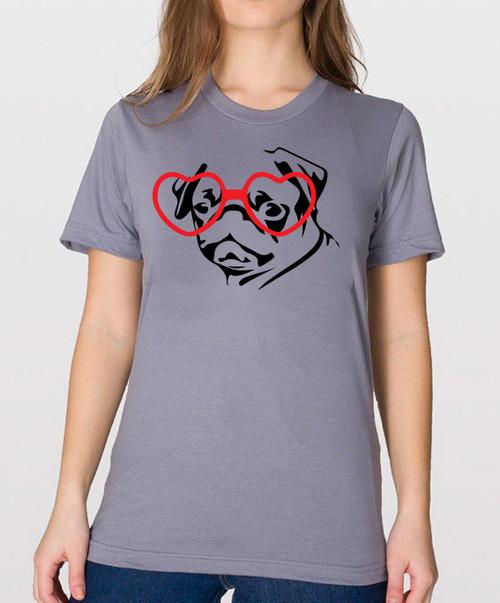 Hipster Pug Unisex T-Shirt