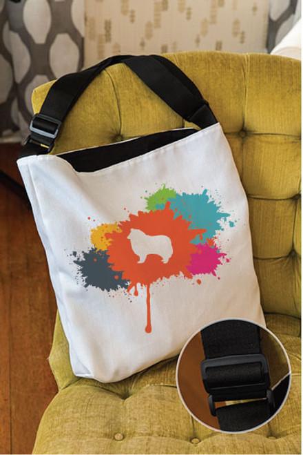 Splatter Collie Adjustable Tote Bag