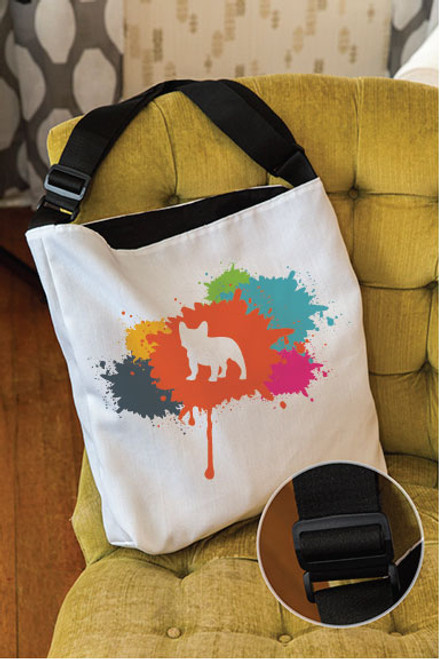 Splatter French Bulldog Adjustable Tote Bag
