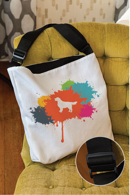 Splatter Golden Retriever Adjustable Tote Bag