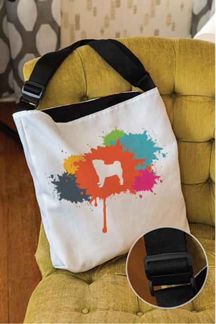 Splatter Pug Adjustable Tote Bag