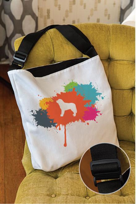 Splatter Saint Bernard Adjustable Tote Bag