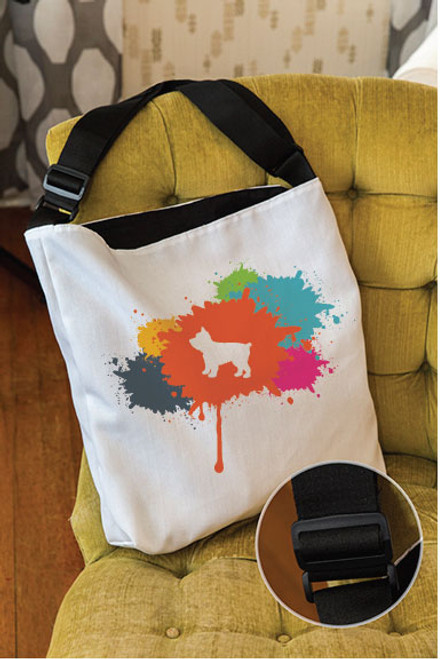 Splatter Yorkie Adjustable Tote Bag