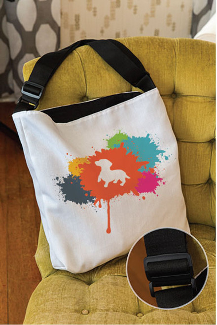 Splatter Dachshund Adjustable Tote Bag