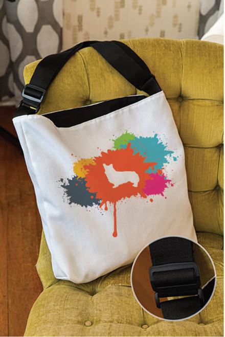 Splatter Corgi Adjustable Tote Bag