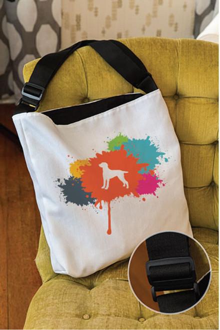 Splatter Weimaraner Adjustable Tote Bag