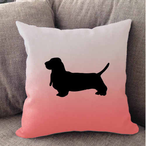 Righteous Hound - White Ombre Basset Hound Pillow
