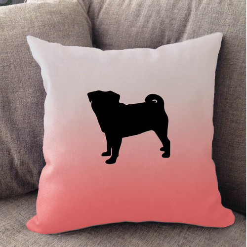Righteous Hound - White Ombre Pug Pillow