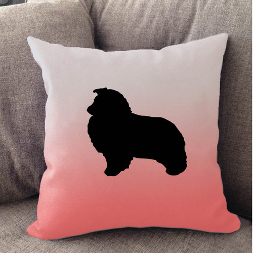 Righteous Hound - White Ombre Shetland Sheepdog Pillow