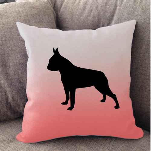 Righteous Hound - White Ombre Boston Terrier Pillow