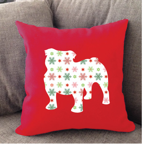 Righteous Hound - Red Holiday Bulldog Pillow