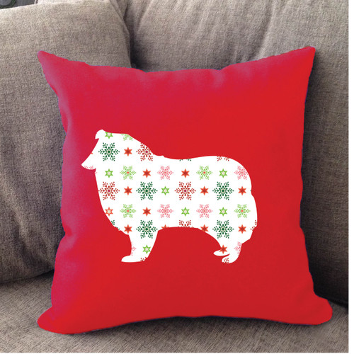 Righteous Hound - Red Holiday Collie Pillow