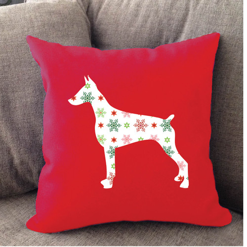 Righteous Hound - Red Holiday Doberman Pillow