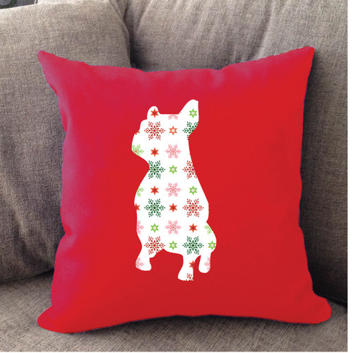 Righteous Hound - Red Holiday French Bulldog Pillow
