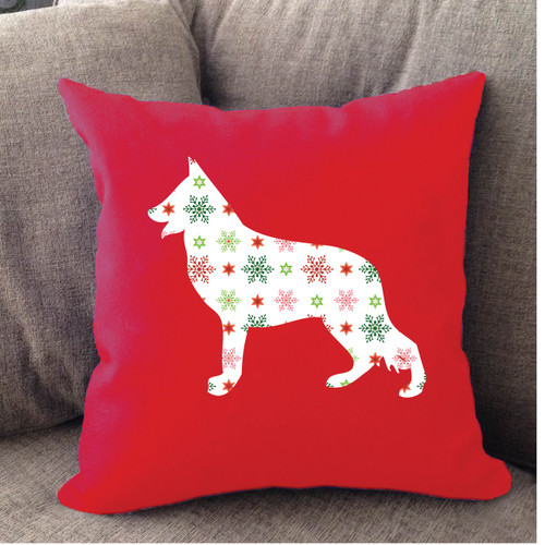 Righteous Hound - Red Holiday German Shepherd Pillow