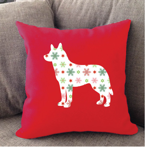 Righteous Hound - Red Holiday Husky Pillow