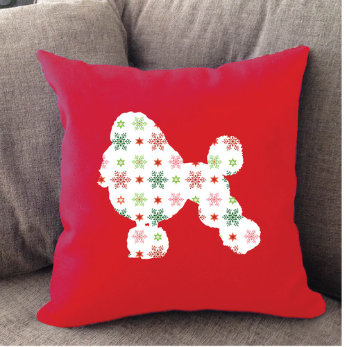 Righteous Hound - Red Holiday Poodle Pillow