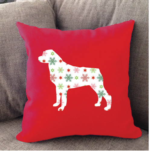 Righteous Hound - Red Holiday Rottweiler Pillow