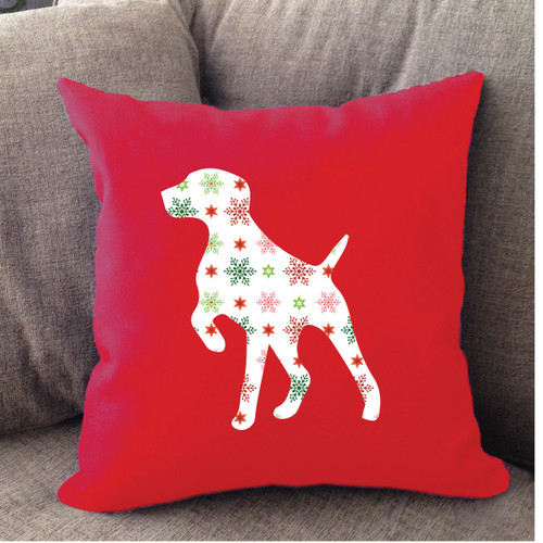 Righteous Hound - Red Holiday German Shorthaired Pointer Pillow
