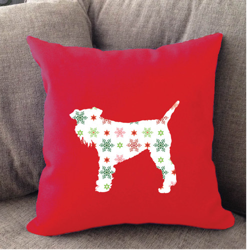 Righteous Hound - Red Holiday Schnauzer Pillow