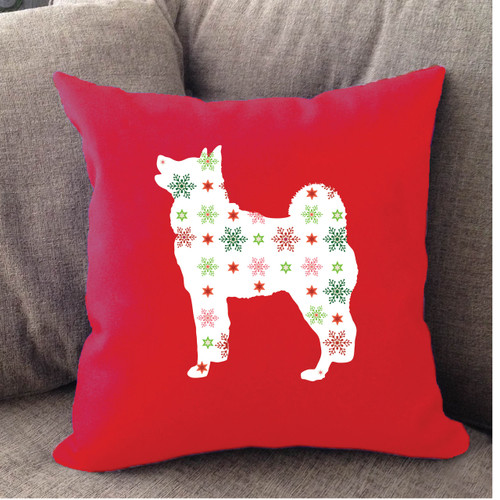 Righteous Hound - Red Holiday Akita Pillow