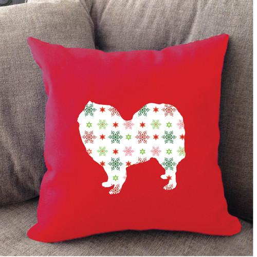 Righteous Hound - Red Holiday Samoyed Pillow