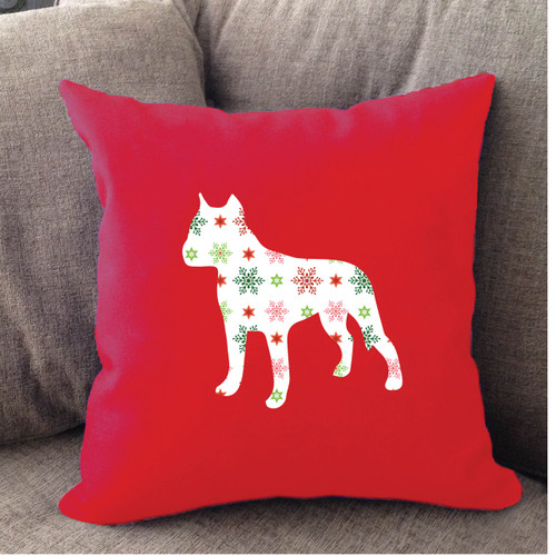 Righteous Hound - Red Holiday Staffordshire Terrier Pillow