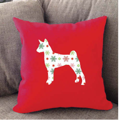 Righteous Hound - Red Holiday Basenji Pillow