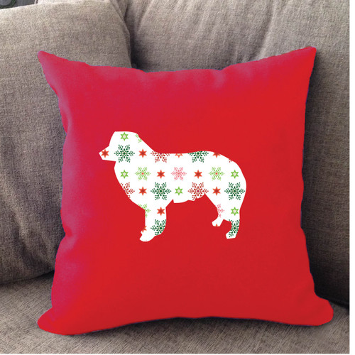 Righteous Hound - Red Holiday Border Collie Pillow