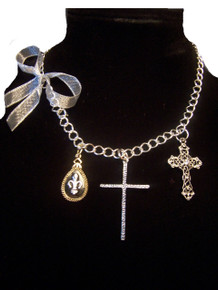 Cross Rhinestone Charm Necklace