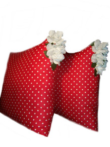 Big 2-piece Decorative Red/White Polka Dot Pillow Set