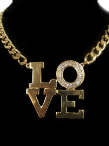 "Gold Tone, ""Love"" Chain Necklace"